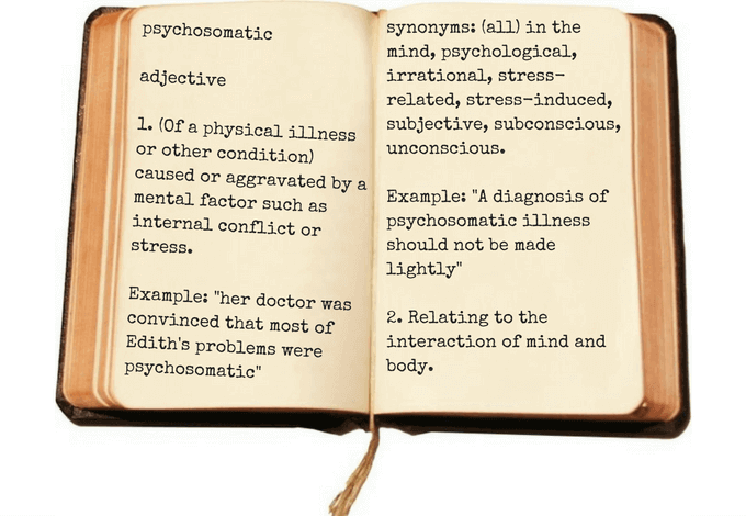 anxiety dictionary showing definition of psychosomatic